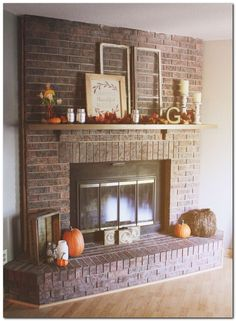Living Room With Red Brick Fireplace have a red brick fireplace with dark wood mantel? this is a great