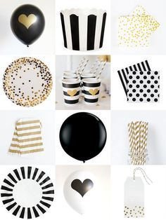 black and gold party supplies