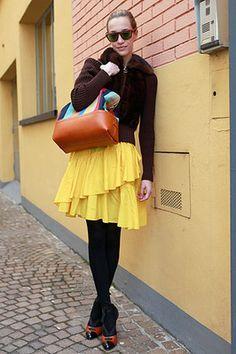 Big skirt, burst of yellow.