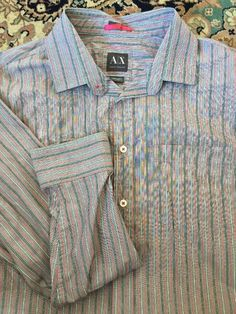 A/X Armani Exchange Gray Black Red Striped X-Large Slim Fit Button Up Shirt L/S #AXArmaniExchange #ButtonFront