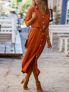 New Autumn Ladies Long Shirtdress Women Fashion Long Sleeve Button Side Slip Dress Female High Street Elegant Shirt Dress Solid-geekbuyig Fashion Casual, Look Fashion, Womens Fashion, Fashion Boots, Fashion 2018, Fashion Online, Long Shirt Dress, The Dress, Long Midi Dress