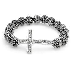 Grey Crystal Bead Cross Shamballa Inspired Stretch Bracelet mm ($1) ❤ liked on Polyvore