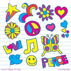 Love and Peace Clip Art  Hand Drawn Hippy Clip Art by wonderdigi, $5.00