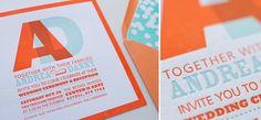 orange and teal invite