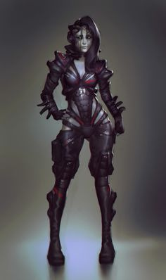 freylise by Aberiu female cyborg robot undead zombie leather latex rubber bodysuit catsuit assassin thief rogue dark elf drow armor clothes clothing fashion player character npc | Create your own roleplaying game material w/ RPG Bard: www.rpgbard.com | Writing inspiration for Dungeons and Dragons DND D&D Pathfinder PFRPG Warhammer 40k Star Wars Shadowrun Call of Cthulhu Lord of the Rings LoTR + d20 fantasy science fiction scifi horror design | Not Trusty Sword art: click artwork for source