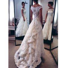 Chic Design Lace Top Long A-line Unique Style Scoop Sleeve Wedding Par – AlineBridal