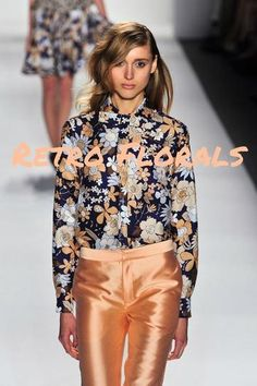 Retro florals. Each spring, we typically see some type of floral pattern emerge, and this year it's all about bold flowers with a vintage feel. Designers like Ruffian and Oswald Helgason took a cue from 1970s and showcased blooms with a more psychedelic edge, while others (Delpozo, Suno) referenced the 1960s with the literal use of large dandelions and sunflowers.