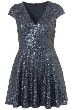 Sequin V Front Skater Dress - Going Out Dresses - Dresses - Clothing - Topshop USA Nye Dress, Sequin Dress, Party Dress, Skater Dress, Dress Skirt, Topshop, Glitter Dress, Size 16 Dresses, Dresses Dresses