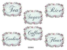 Vintage Pink Green Floral Canister Shabby Labels Waterslide Decals | eBay