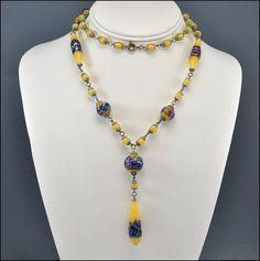 Long Foil Glass Bead Czech Art Deco Necklace Sautoir Vintage 1920s Art Deco Jewelry