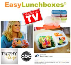 """EasyLunchboxes lunch containers - as seen on ABC-TVs Trophy Wife """"Foxed Lunch"""" Easy Lunch Boxes, Box Lunches, Bento Ideas, Lunch Ideas, Lunch Containers, Trophy Wife, Show And Tell, Martha Stewart, Tvs"""