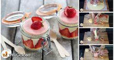 Torta alle fragole e crema nel vasetto