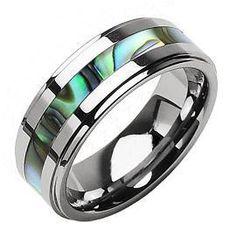 Tungsten Carbide Abalone Ring~free Shipping
