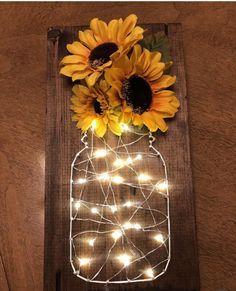 Sunflower fairy light stitch art – Diy Baby Deco – rustic home diy Sunflower Room, Sunflower Bathroom, Sunflower Gifts, Sunflower Home Decor, Sunflower Decorations, Sunflower Design, Diy Y Manualidades, Diy Casa, Cute Room Decor