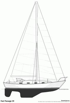 Fast Passage 39 - Specifications LOA: 39' 6″ (12.0 m.) LWL: 33' 6″ (10.2 m.) Beam: 11' 2″ (3.4 m.) Draft: 5' 6″ (1.7 m.) Ballast: 7,500 lbs. (3,402 kgs.) Displacement: 22,000 lbs. (9,979 kgs.) Sail Area: 735 sq.ft. (224 sq.m.) Fuel: 53 US. Gal. (201 l.) Water: 100 US. Gal. (378 l.) . Designer: William Garden Builder: Philbrooks Shipyard Ltd, Canada / Tollycraft / Northern Marine Year Introduced: 1975 Year Ended: 1985