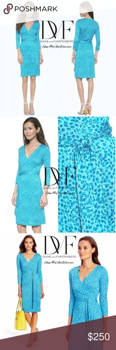 """🆕NWOT Diane Von Furstenberg silk wrap petal dress Amaaaaaazing Authentic DVF 'New Julian Two' style soft pure silk wrap dress in turquoise blue petal print. Mint condition, NWOT. Retailed at $398. It pains me to list this beauty. Laying flat approx 39"""" long. Fits 2/4. Available no where else! Please read my bio regarding closet policies prior to any inquiries. Diane von Furstenberg Dresses Midi"""