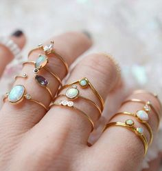 Opal Stacking Rings I'd love these in silver or white gold Boho Jewelry, Jewelry Box, Jewelry Rings, Jewelry Accessories, Fine Jewelry, Fashion Jewelry, Jewlery, Jewelry Stand, Dainty Jewelry