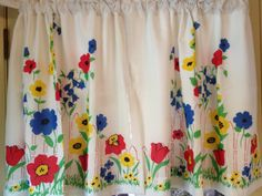Vintage Kitchen Curtains | Vintage Flowered Kitchen Curtains With Lining by MichellesHouse