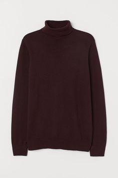 Свитер с высоким воротом - Бордовый меланж - Мужчины   H&M RU Red Turtleneck, Burgundy Sweater, H M Man, H&m Gifts, Stussy, Fashion Company, Personal Style, Turtle Neck, Knitting