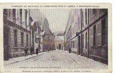 Fabrique de montres Besançon, France. Ancienne carte postale. Vintage postcard.