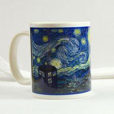 Doctor Who Mug Van Gogh tardis dr doctor who cup coffee mug Cafe Terrace at Night, Starry Night Tardis