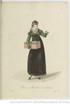 Mercière ambulante from Georges-Jacques Gatine, Costumes d'ouvrières parisiennes, 1824, BNF Paris