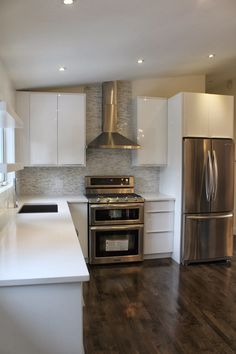 Thought I would share a few photos of our finished Ikea Abstract white high gloss kitchen from the last renovation my client did. Kitchen Cabinets Materials, Kitchen Cabinets Fronts, High Gloss Kitchen Cabinets, Kitchen Doors, Kitchen Handles, Kitchen Redo, Kitchen Remodel, High Gloss White Kitchen, White Ikea Kitchen