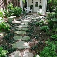 Stone walkway to shed