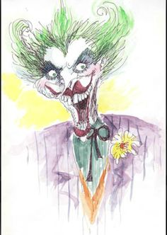 Here is another one of Tim Burtons Artworks. This shows an eccentric Joker from Batman. Watercolours appear to have been used here with biro thin lines. This image has very whimsical qualities with the colours and the use of the clown however has dark, creepy and twisted elements because of his beady eyes and the size of his grin.