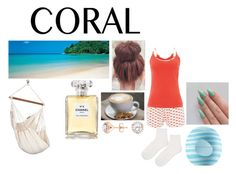 """Coral"" by esmcl17 ❤ liked on Polyvore featuring beauty, Tommy Hilfiger, Topshop, Eos, Chanel and Home Decorators Collection"