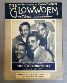 VTG THE GLOW WORM SHEET MUSIC 1952 MILLS BROTHERS JOHNNY MERCER