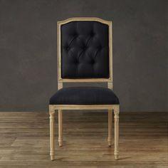 Zwart linnen bekleding eiken stoel