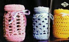 Resultado de imagem para garrafas e potes de vidro enfeitadas com ponto de croche passo a passo
