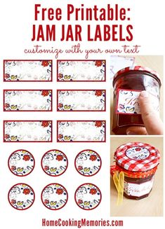 Printable Jar Labels for Home Canning Free Printable: Jar Labels -- use for canning homemade jam or jelly, or for any food gift in a jar. Easy to customize with text or print and write on them by hand.Free Printable: Jar Labels -- use for canning homemade Jam Jar Labels, Canning Jar Labels, Jam Label, Canning Recipes, Labels For Jars, Canning Tips, Jam Recipes, Drink Recipes, Printable Labels