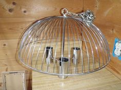 Silver Hanging Swag  Light Fixture Metal Cage Modern Industrial Steampunk Decor