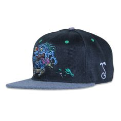 The second set of collaboration hats with artist, Jimbo Phillips. Artwork done by Jimbo Phillips himself. The skater monster design is embroidered on the front of a black pearl hemp fitted hat. Learn