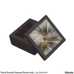 Floral Fractal, Fantasy Flower with Earth Colors Keepsake Box
