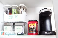 Make mornings easier: create a coffee station to corral your caffeinated concoctions!    #organize #kitchen