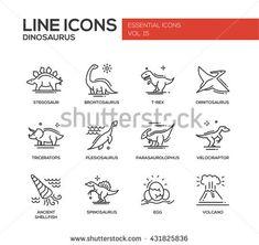 Set of modern vector plain line design icons and pictogram of dinosaurs species, prehistoric age life. Stegosaur, t-rex, brontosaurus, ornitosaurus, plesiosaurus, triceratops, velociraptor