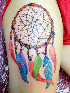 colorful dreamcatcher tattoo - 60 Dreamcatcher Tattoo Designs for Women Boy Tattoos, Feather Tattoos, Body Art Tattoos, Tatoos, Wicked Tattoos, Feather Art, Tattoo Art, Dream Catcher Tattoo Small, Dream Catcher Tattoo Design