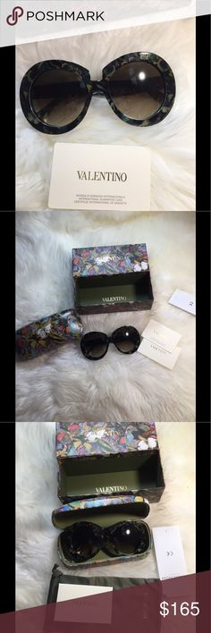 New Authentic Valentino butterfly Sunglasses New with original package.Super cute beautiful butterfly floral print in army green color.Price is firm. Valentino Accessories Glasses