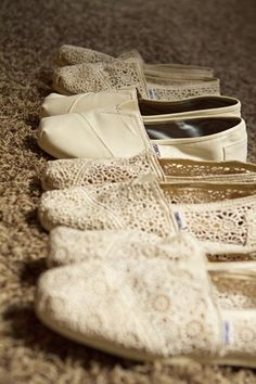 Dancing shoes (Tom's) for bridesmaids and for the bride as well, This would be so cute instead of flip flops! Love.
