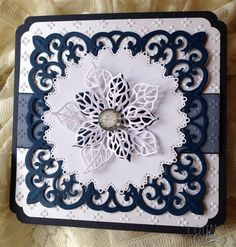 Twinkling Snowflake Christmas Card | docrafts.com.  Tattered Lace Ditsy Dots Embossing Folder Spellbinders Victorian Medallion Three Spellbinders Decorative Elements Nestabilities - Exquisite Circles Creative Expressions - Sue Wilson Festive Collection - Mosaic Poinsettias