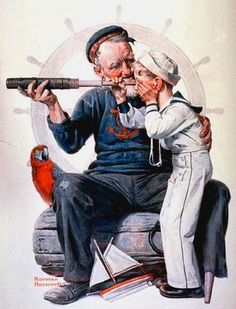 1922 August 19 Sailor boy looking through telescope - Artist Norman Rockwell - Saturday Evening Post. Peintures Norman Rockwell, Norman Rockwell Art, Norman Rockwell Paintings, Illustrations, Illustration Art, Art Quotidien, The Saturdays, Retro, Saturday Evening Post