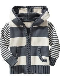 Striped Knit Zip-Front Hoodies for Baby Product Image Knit Baby Booties Pattern Free, Boys Knitting Patterns Free, Baby Cardigan Knitting Pattern, Hoodie Pattern, Knitting For Kids, Toddler Boy Outfits, Boys Sweaters, Striped Knit, Hoodies