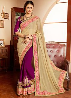 Elevation Purple & Cream Brasso Georgette Saree