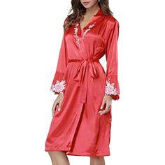 f777339e90 Femme Kimono Printemps Automne Longues Elégante Chemise De Nuit Satin Mode  Chic Fashion Assez Trendy Vêtement