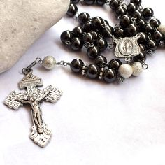 Miraculous medal Rosary beads in gray gemstone w/ Pardon Crucifix, Catholic rosary, first communion, Catholic gift, unbreakable mens rosary