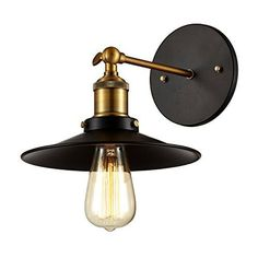 Edison Wall Mount Sconce - Bulb Included, Matte Black/Antique Brass