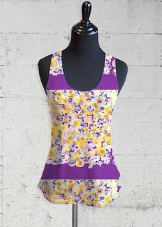 Printed Racerback Top - grape purple by VIDA VIDA